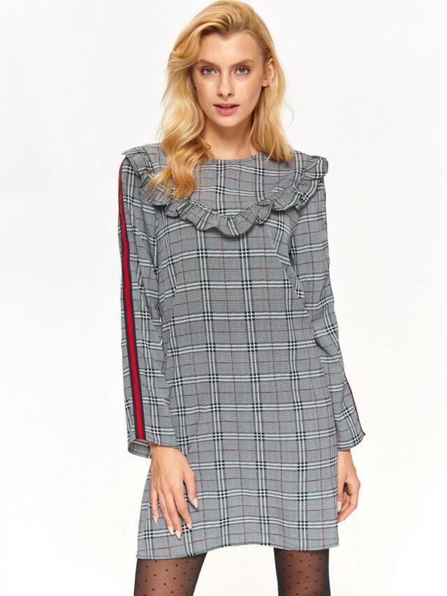 Top Secret Šaty dámské kostkované s dlouhým rukávem - S