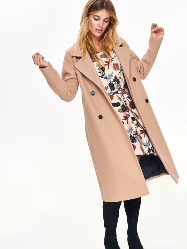 Top Secret Kabát dámský béžový dlouhý na knoflíky - 36