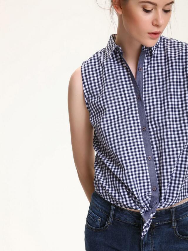 Top Secret Košile dámská kostičkovaná bez rukávu - L