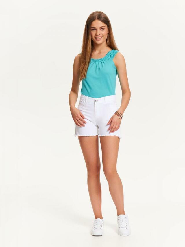 Top Secret šortky dámské bílé jeans s třásněmi