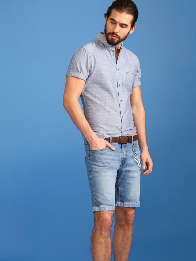 Top Secret Košile pánská modrá s puntíky a krátkým rukávem