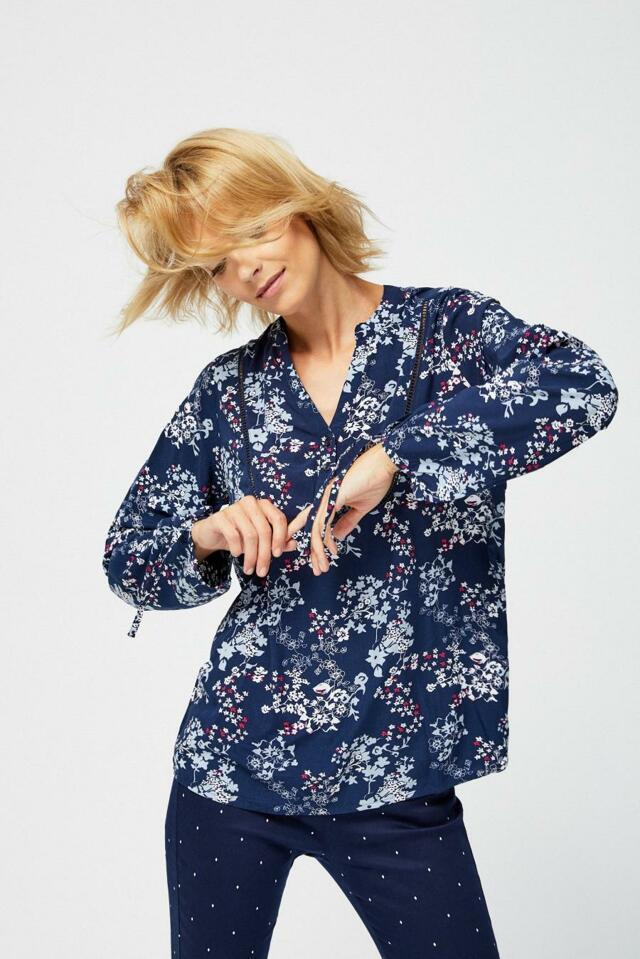 Moodo Košile dámská květovaná s dlouhým rukávem - XS