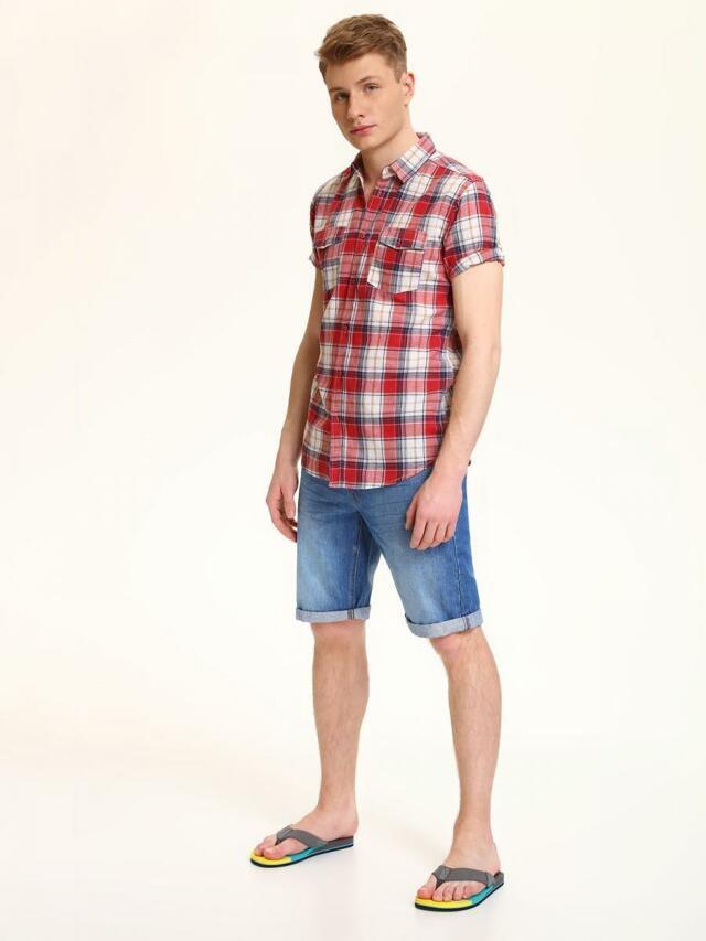 Top Secret Košile pánská červená s proužkem a krátkým rukávem