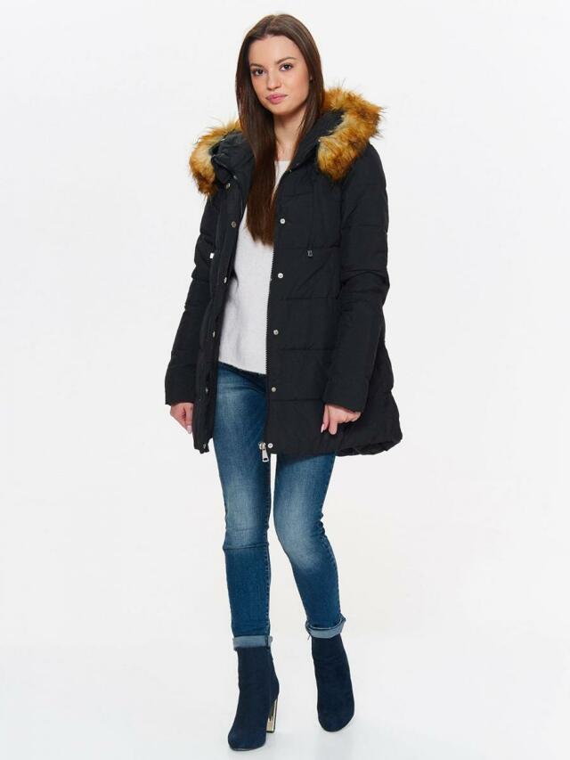 Top Secret Bunda dámská černá péřová s kožíškovou kapucí a dlouhými zipy na bokách