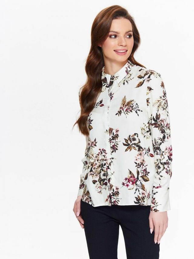 Top Secret Košile dámská bílá s květinami a dlouhým rukávem