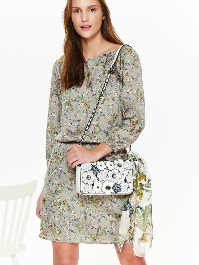 Top Secret šaty dámské béžové s květinami a gumou v pase - 40 f21b8694f0