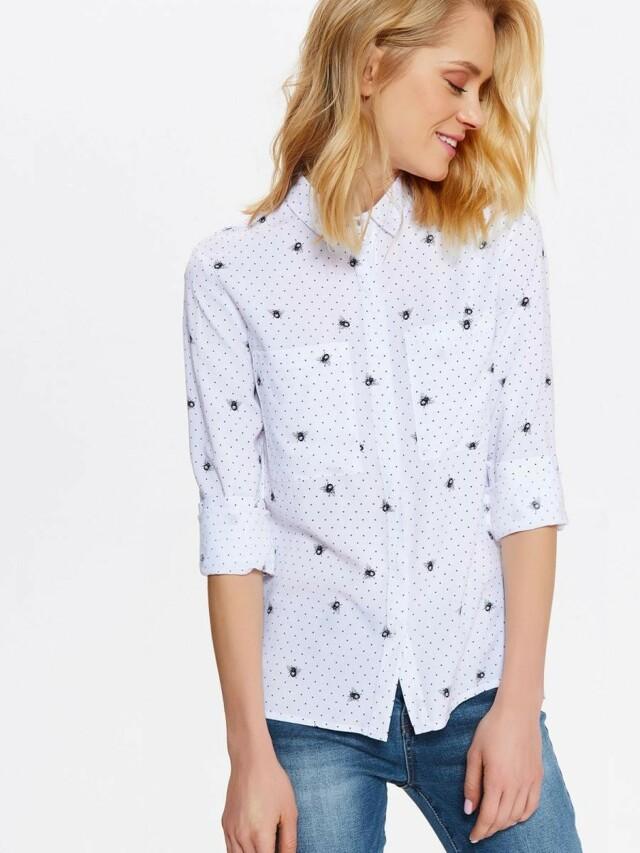 Top Secret Košile dámská bílá s jemným vzorem - 34