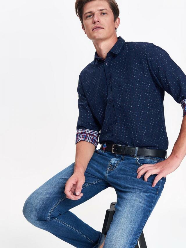 cd355b1472b Hande.cz  top secret košile pánská tmavě modrá se vzorem a dlouhým ...