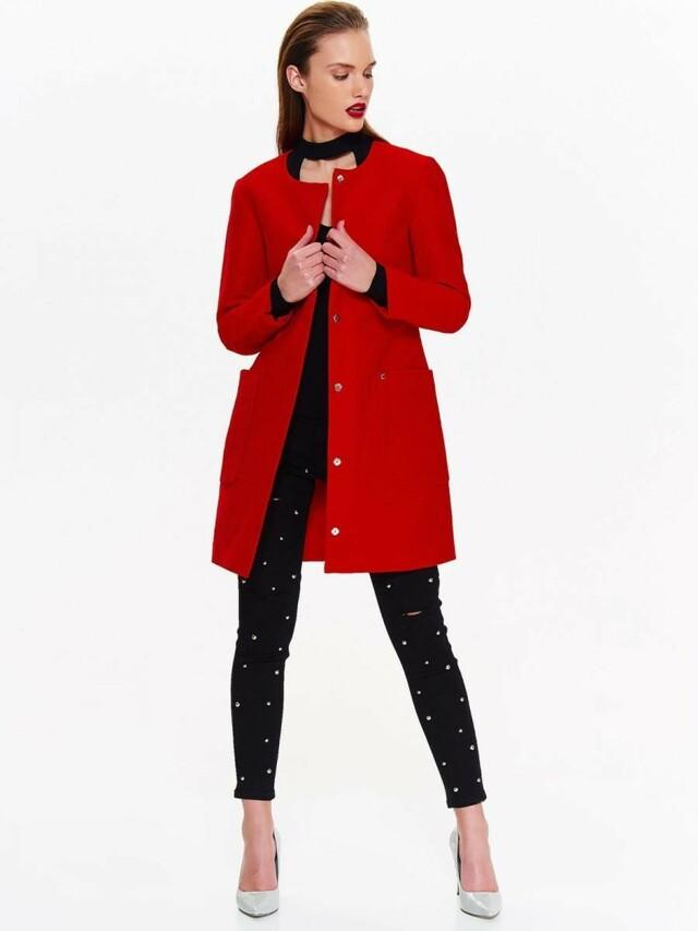 Top Secret Kabát dámský červený s kruhovým výstřihem