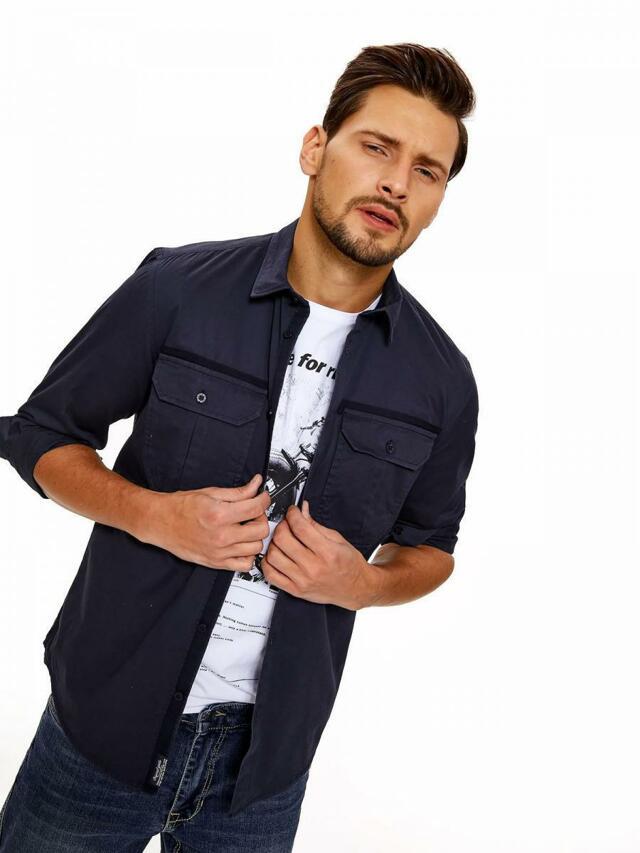 d0f4c240c58 Top Secret Košile pánská tmavě modrá s dlouhým rukávem
