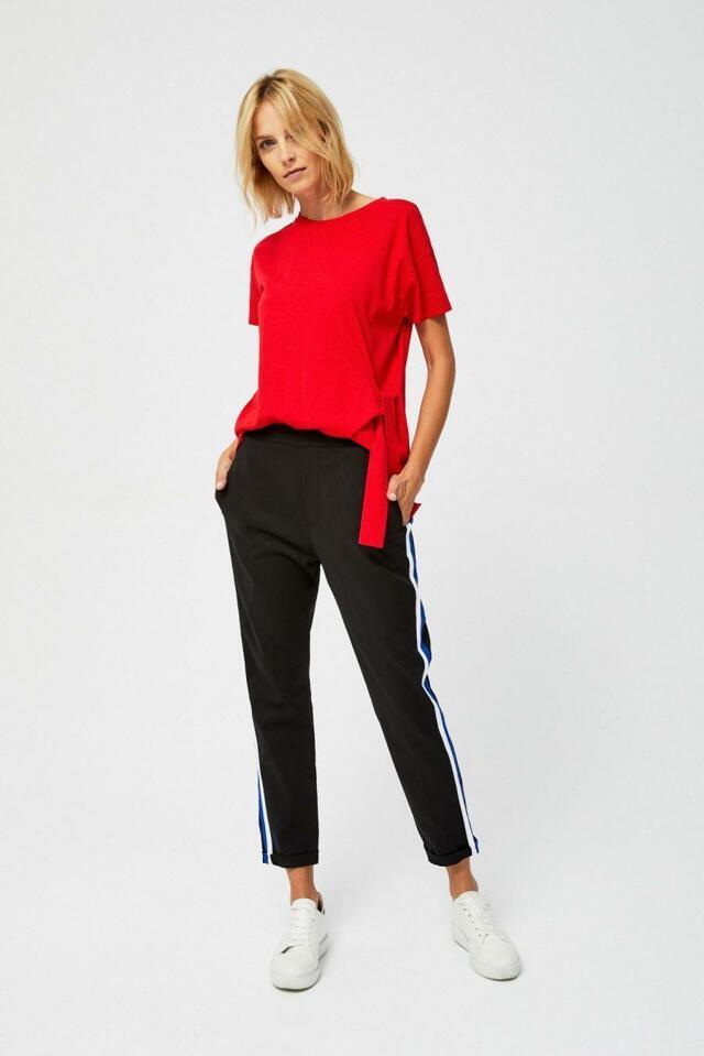 Moodo Kalhoty dámské černé s pruhem - M