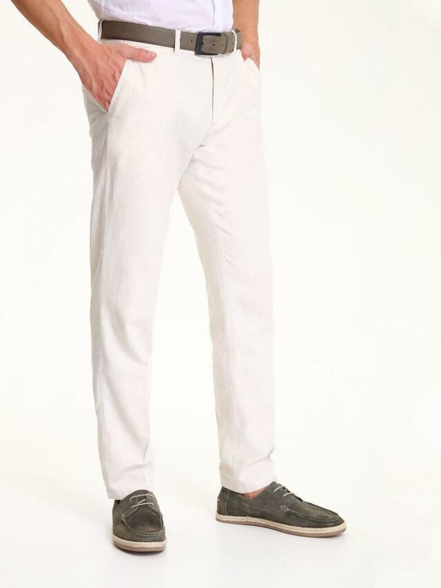 Top Secret Kalhoty pánské béžové lněné - 32