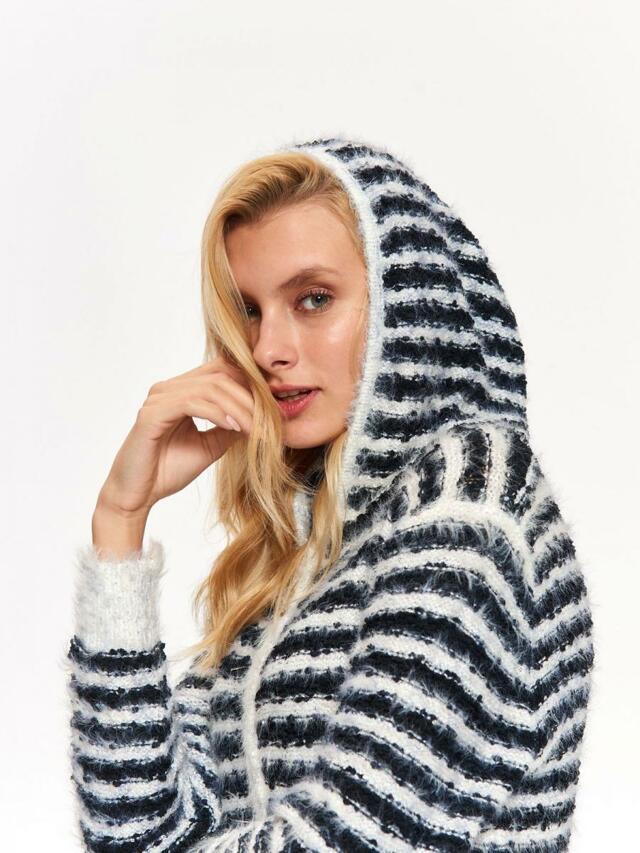 Top Secret Svetr dámský pruhovaný na zip s kapucí - M/L