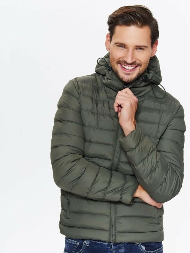 Top Secret Bunda pánská prošívaná khaki s kapucí
