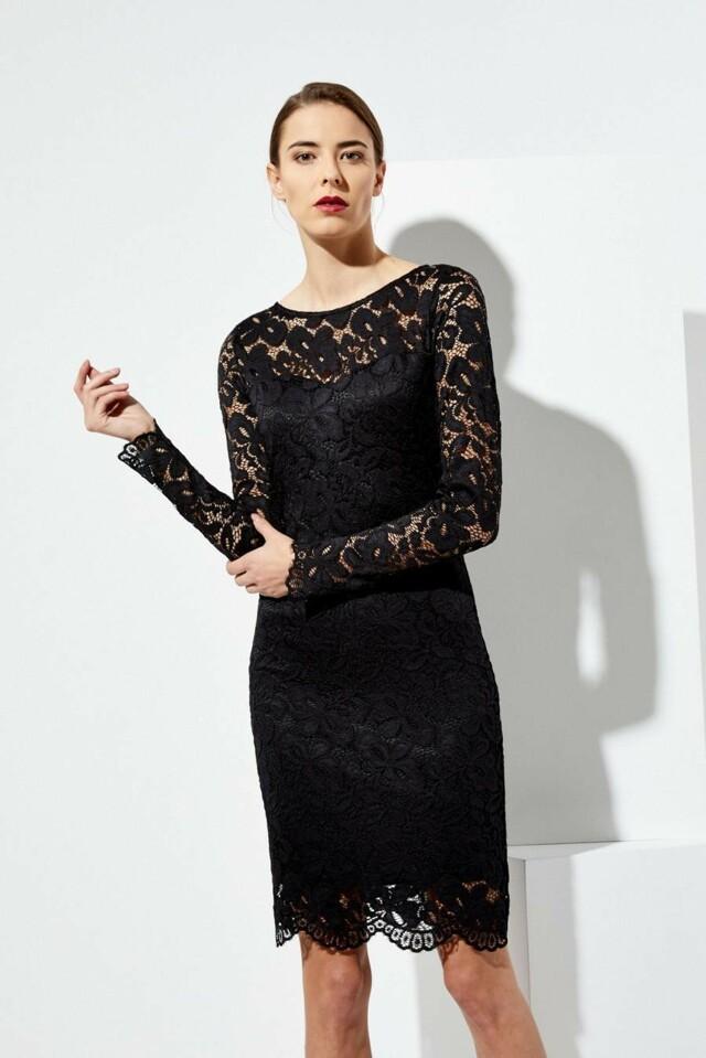 Moodo šaty dámské krajkové s dlouhým rukávem