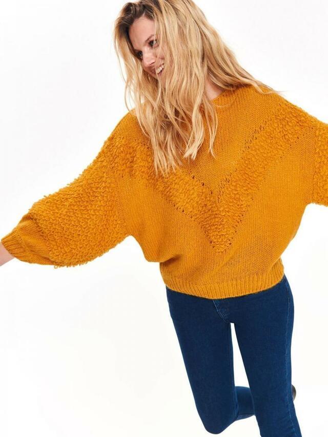 Top Secret Svetr dámský žlutý s rozšířeným rukávem - 38 42 5a51706a40