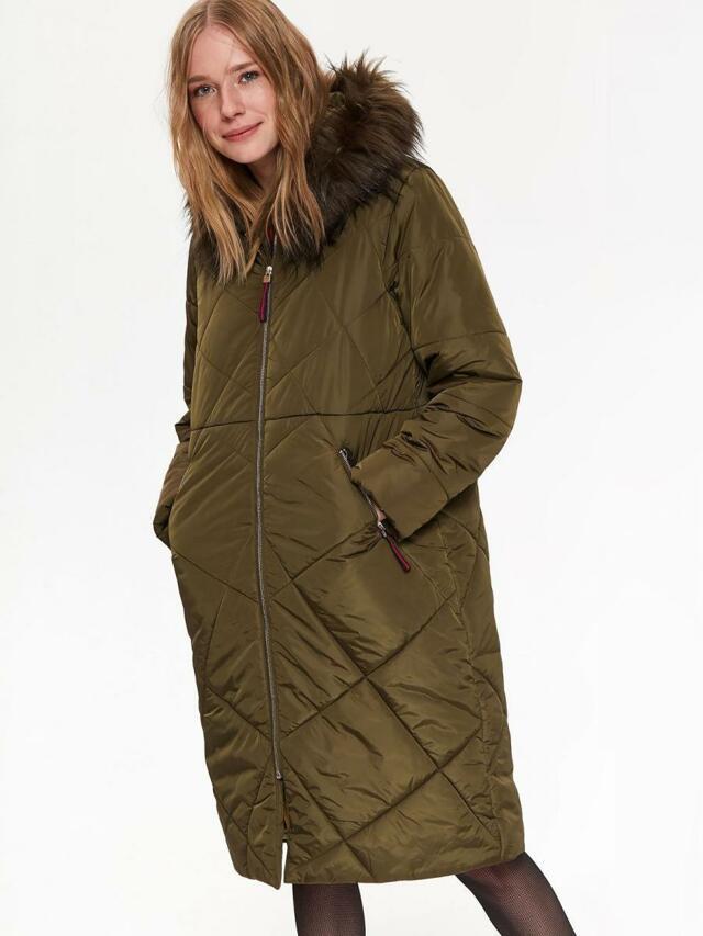 Top Secret Bunda dámská dlouhá prošívaná khaki s kapucí