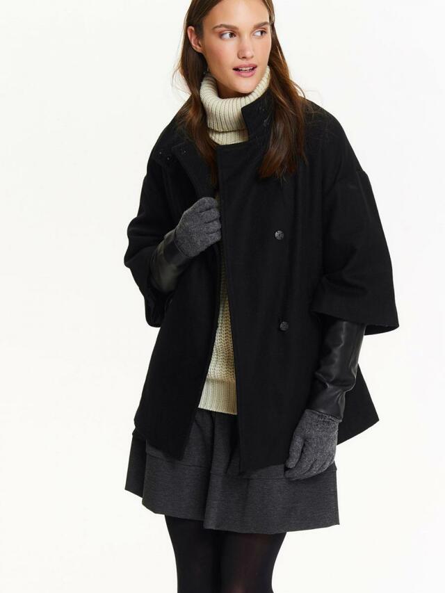 Top Secret Bunda dámská černá s koženýma rukávama a zavazovacím páskem - 42