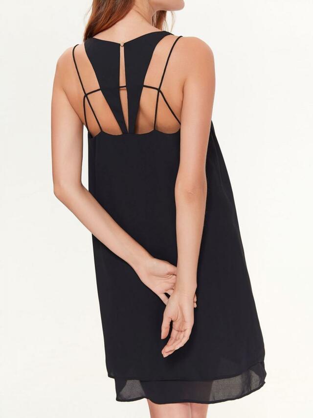 Top Secret šaty dámské jednobarevné na úzkých ramínkách a ozdobným zadním dílem