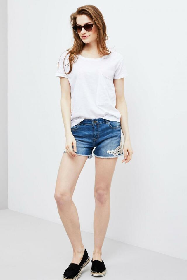 Moodo šortky dámské jeans s bílou krajkou 47602bcdd7