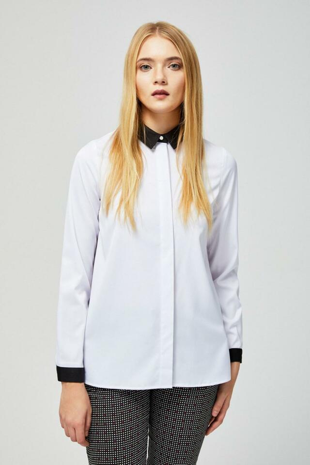 Moodo Košile dámská bílá s černým límečkem - S be9253c607
