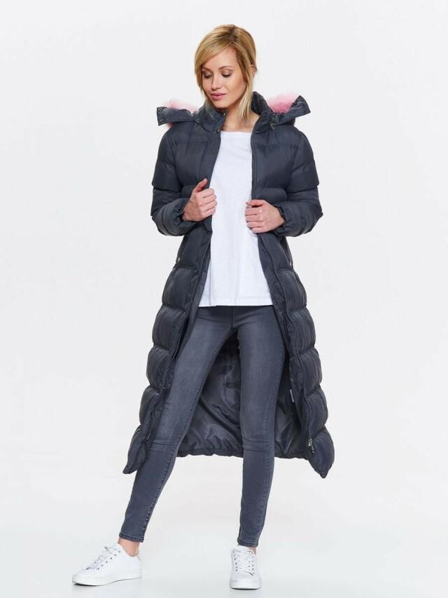 Top Secret Kabát dámský dlouhý prošívaný s kapucí a růžovým kožíškem