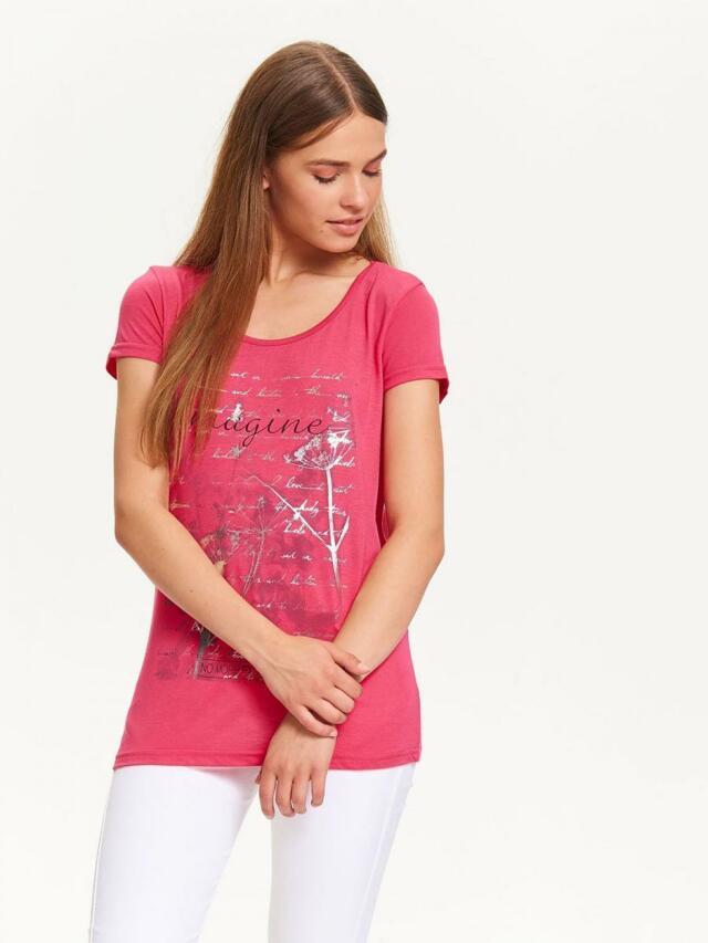 Top Secret Triko dámské růžové s nápisem a krátkým rukávem - S