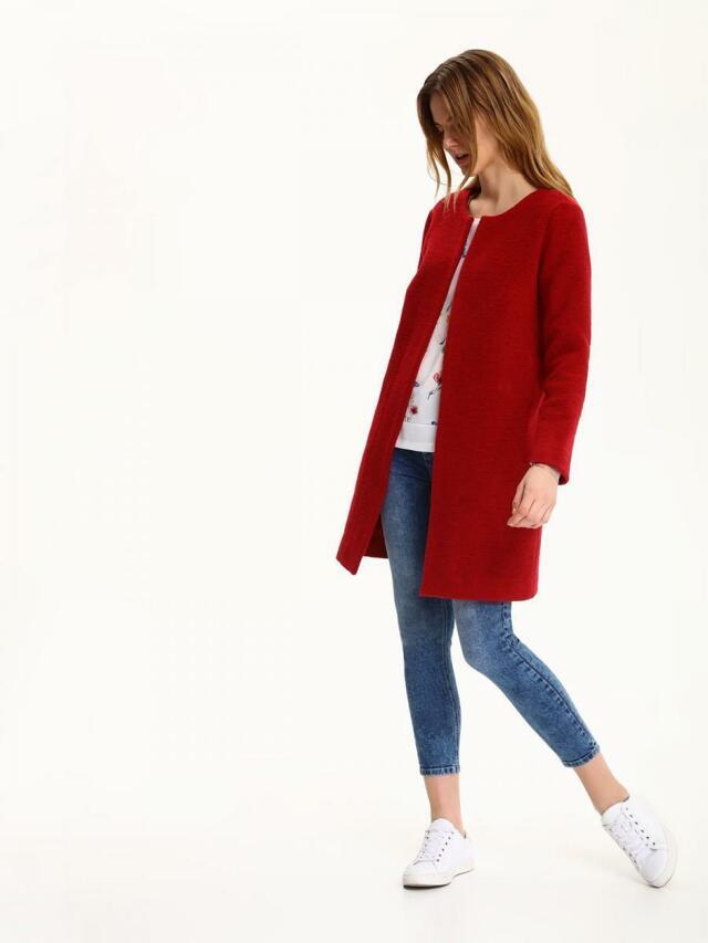 Top Secret Kabát dámský rudě červený bez zapínání