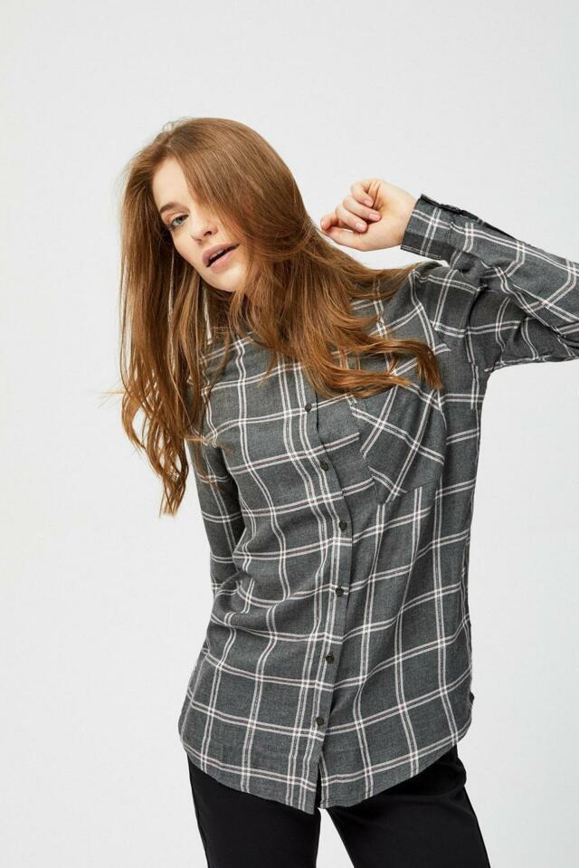 Moodo Košile dámská kostkovaná se zapínáním na knoflíky a douhým rukávem - XL