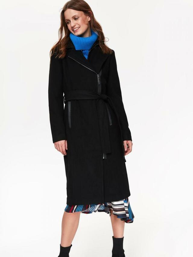 Top Secret Kabát dámský vlněný dlouhý s páskem - 40