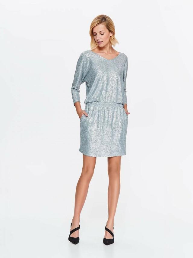 Top Secret šaty dámské stříbrné lesklé s gumou v pase - 34