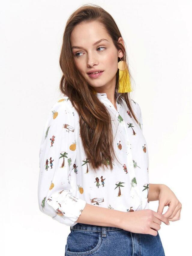 Top Secret Košile dámská bílá s potiskem - S 0e0eba38c7