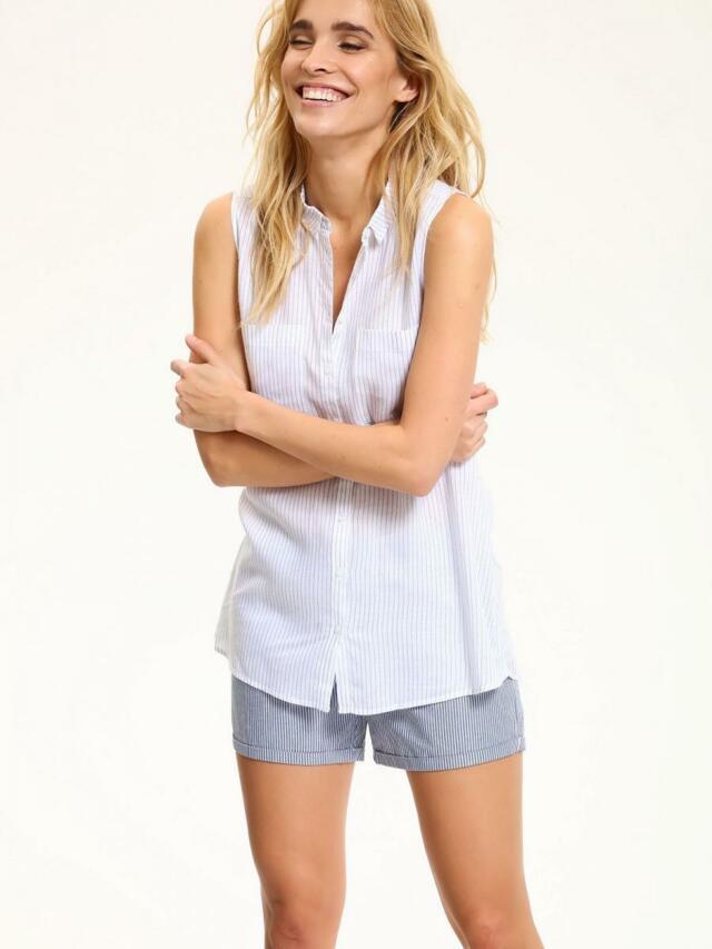 Top Secret Košile dámská bílá pruhovaná bez rukávu - 40