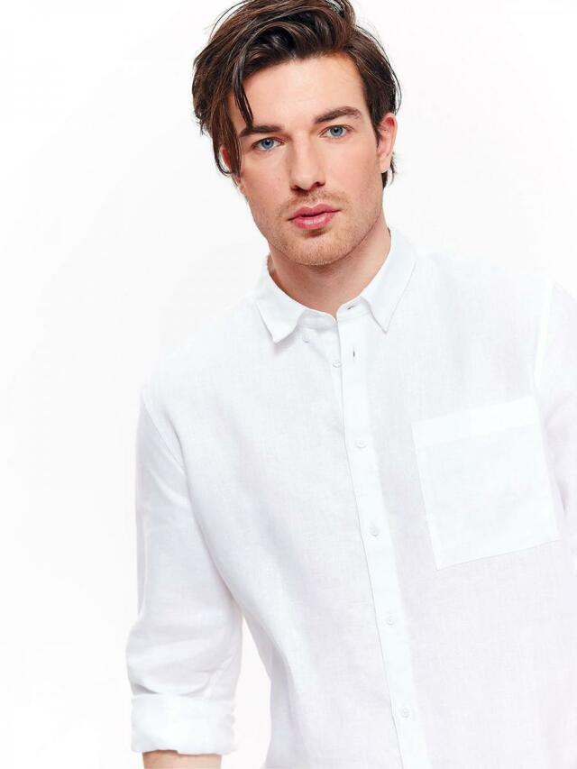 ed6397352 Top Secret Košile pánská bílá lněná s dlouhým rukávem(595871) - 5