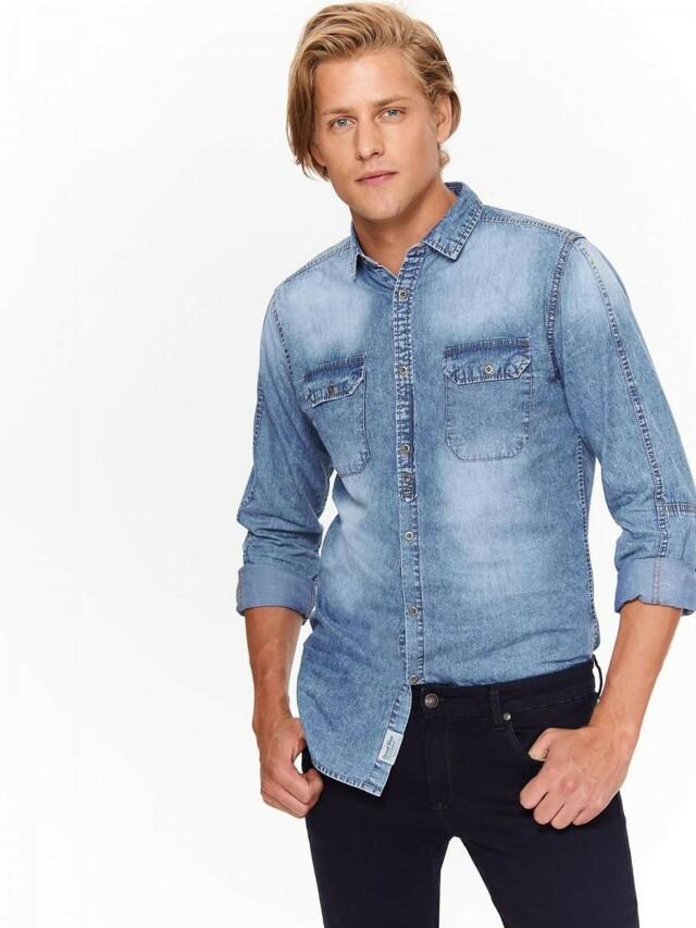 Top Secret Košile pánská jeans s dlouhým rukávem