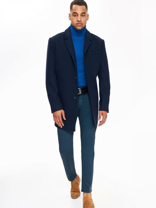 Top Secret Kabát pánský vlněný tmavě modrý odstín - M