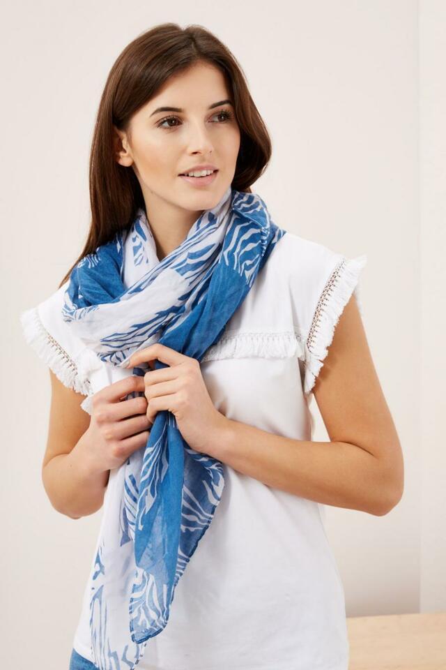 Moodo šátek dámský modro bílý