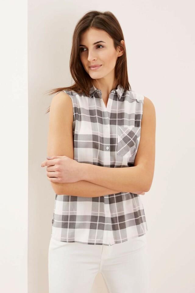 Moodo Košile dámská kostičkovaná bez rukávu - S