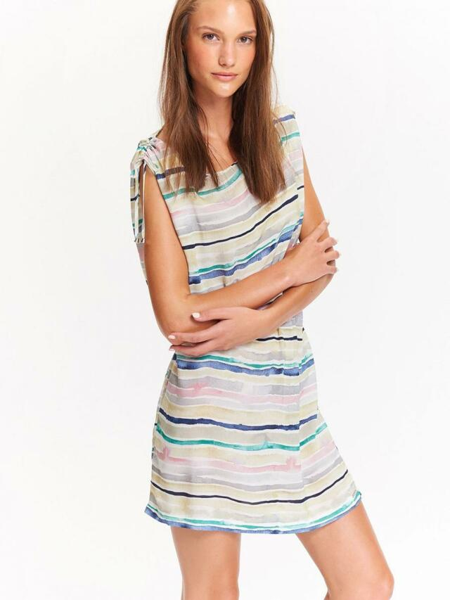Top Secret šaty dámské béžové s pruhama a gumou v pase - 40