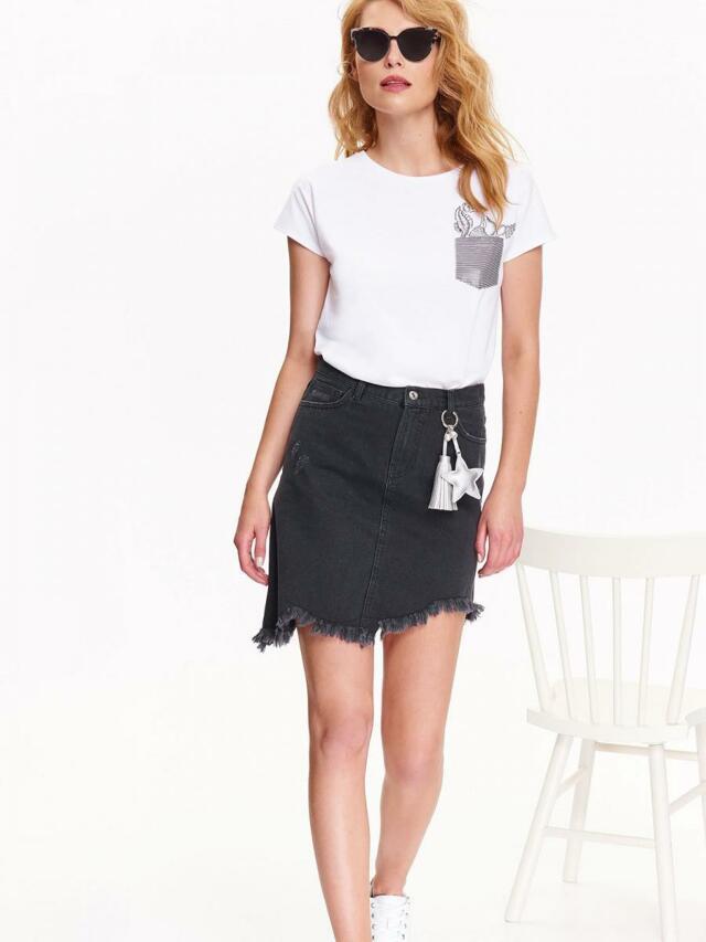 Top Secret Sukně dámská černá jeans s roztřepeným lemem