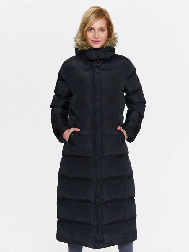 Top Secret Kabát dámský dlouhý prošívaný s kapucí a kožíškem