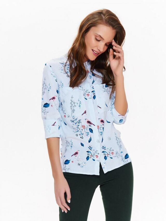Top Secret Košile dámská bledě modrá s proužkem a květinami - 40