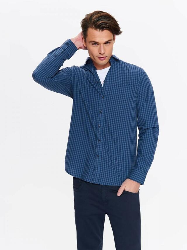 Top Secret Košile pánská modrá kostičkovaná s dlouhým rukávem