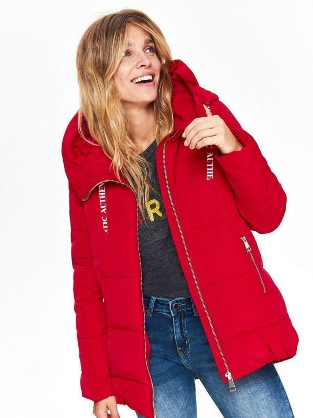 Top Secret Bunda dámská čeervená s kožíškovou kapucí