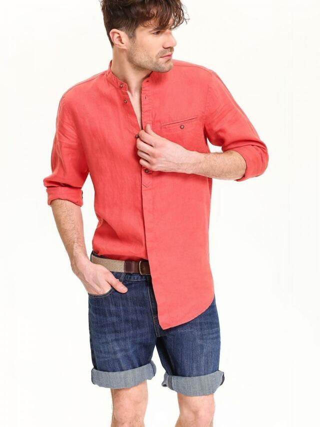 37dee4bab Top Secret Košile pánská červená lněná s dlouhým rukávem(436939) - 2