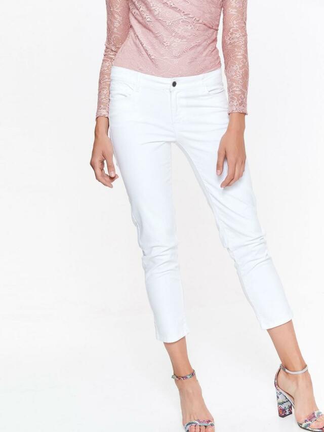 Top Secret Jeansy dámské bílé dlouhé