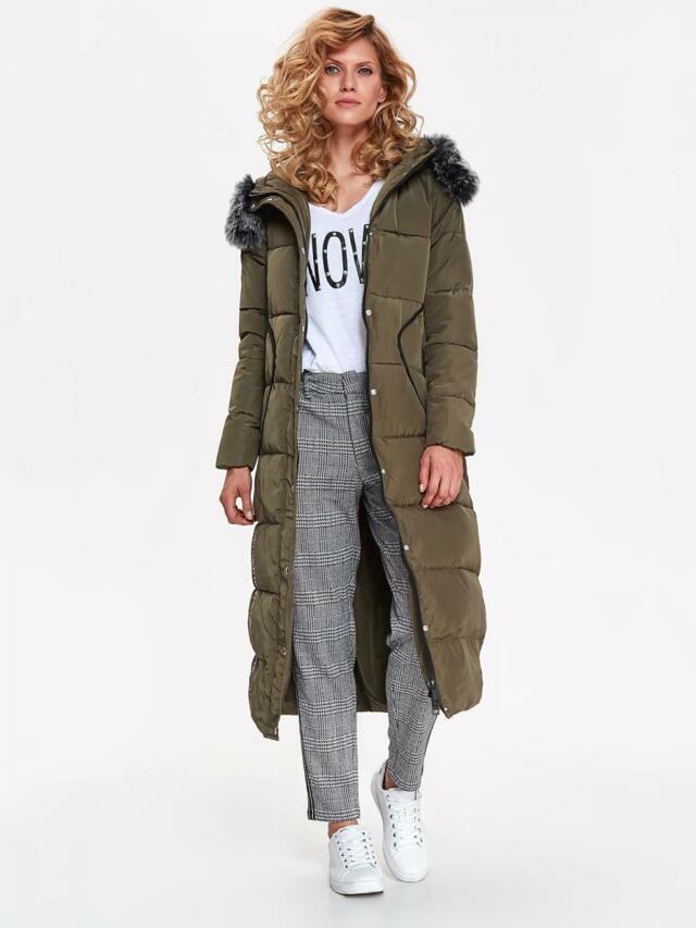 Top Secret Bunda dámská dlouhá prošívaná khaki s kožíškovou kapucí