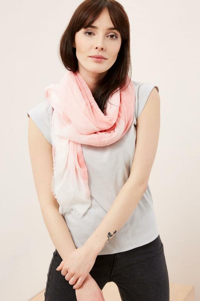 Moodo šátek dámský bílo rúžový