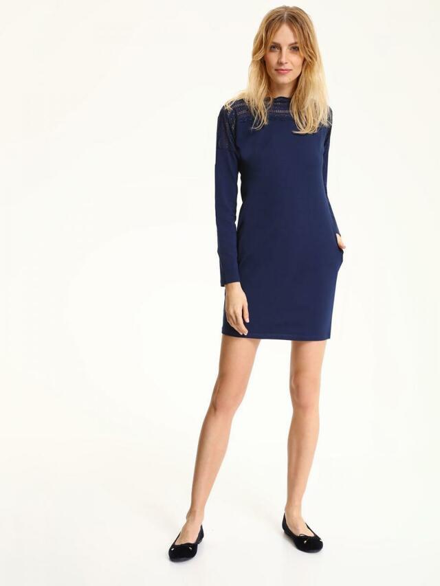 Top Secret šaty dámské tmavě modré s krajkou a dlouhým rukávem - 38