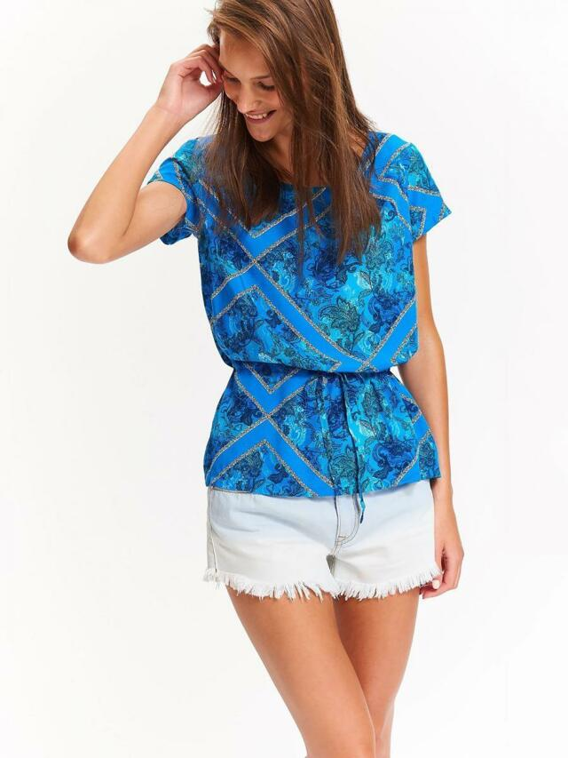 Top Secret Halenka dámská modrá vzorovaná se stahovací tkanicí a krátkým rukávem